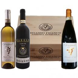Box legno 3 vini Piemonte DOCG